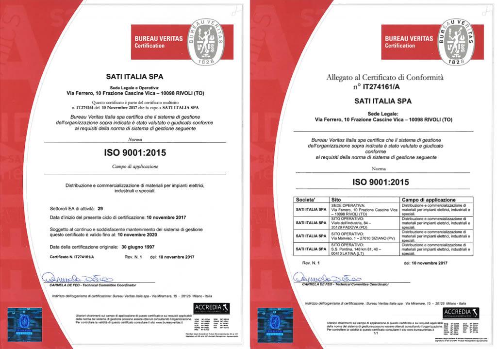 Certifications Sati Italia